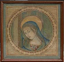 19TH CENTURY NEEDLEWORK PICTURE VIRGIN MARY