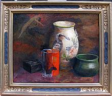EXHIBITED MONTAGUE OIL ON BOARD PAINTING