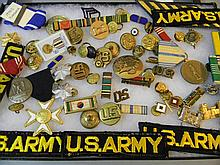 COLLECTION OF MILITARY BADGES, PINS & BUTTONS