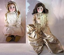 2 DOLLS LARGE D.E.P. BISQUE DOLLS 1 in SATIN GOWN
