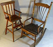 VICTORIAN WOODEN DOLL ROCKER and HIGH CHAIR