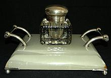 GERMAN 800 & 935 SILVER INKWELL AND STAND