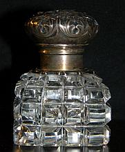 GORHAM REPOUSSE STERLING SILVER AND GLASS INKWELL