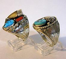 2 SIGNED NATIVE AMERICAN STERLING RINGS, TURQUOISE CORAL