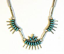 VINTAGE ZUNI NEEDLE POINT STERLING SILVER TURQUOISE NECKLACE
