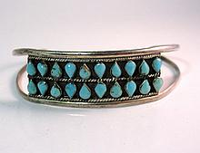 TAXCO STERLING CUFF W/ TURQUOISE TEAR DROPS