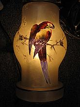 HAND PAINTED GLASS PARROT LAMP STYLE OF HANDEL