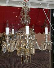 5 LIGHT CUT GLASS AND PRIZIM CHANDELIER