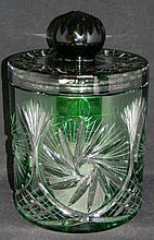 IRENA CUT CRYSTAL EMERALD TO CLEAR BUSCUIT BARREL