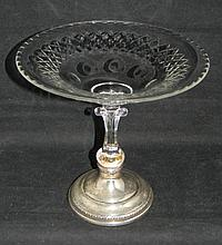 AMERICAN SHEFFIELD STERLING & GLASS TAZZA COMPOTE