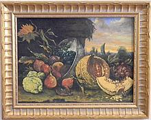 19TH C OIL ON CANVAS STILL LIFE LANDSCAPE
