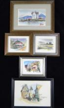 HENRY W DOANE 5 @ MINIATURE WATERCOLOR PAINTINGS