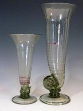 2 @ SIGNED HAND BLOWN ART GLASS FLOWER VASES