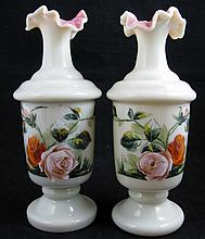 Pair of Opaline Glass Hand Painted Vases w/ Roses