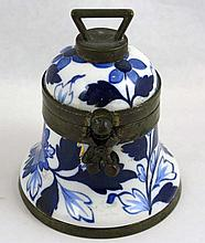 1883 Staffordshire Bell Shaped Blue White Inkwell