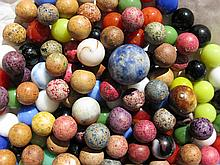 Antique Clay, Bennington & Glass Marbles w Shooter