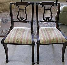 2 PERIOD NEW YORK FEDERAL LYRE BACK CHAIRS c.1810
