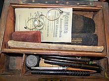 ANTIQUE WRITING BOX, FOUNTAIN PENS, SPECTACLES