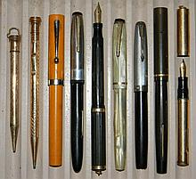 FOUNTAIN PENS 14K, STERLING & GF PARKER SHEAFFER'S