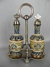DOULTON LAMBETH OIL & VINEGAR CRUET W/ STERLING