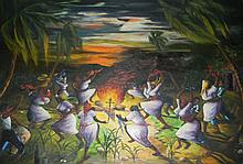 LOUVERTURE POISSON OIL CANVAS VOODOO CEREMONIE
