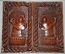 2 HARDWOOD HAITIAN CARVED PANELS BY GEORGES