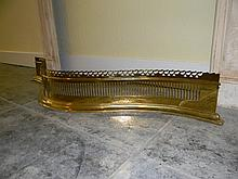 19th c BRASS RETICULATED FIREPLACE SURROUND FENDER