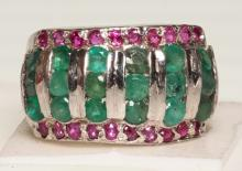 EMERALD AND RUBY STATEMENT RING IN STERLING