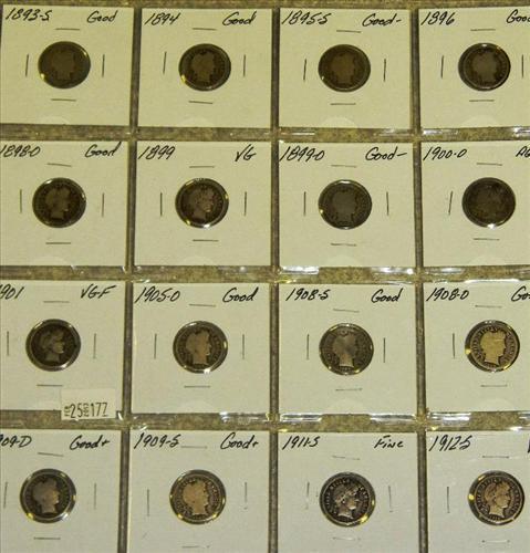 1893-S, 1894, 1895-S, 1896, 1898-O, 1899, 1899-O, 1900-O, 1901, 1905-O, 1908-S, 1908-O, 1909-D, 1909-S, 1911-S, 1912-S (16 Coins) Displayed in Plastic Divider Sheet - Barber Dimes