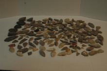 Group of Native American points and arrow heads