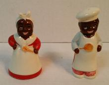 Antique Salt & Pepper Shakers Black Americana Chef