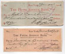 Artist Douglas Volk - 2 bank checks