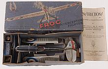 FROG INTERCEPTOR; A fantastic original Frog Intercepter MkIV Fighter model plane. Appears to be complete, with all accessories, and within the original cardboard box, comes with instructions and even the original small oil bottle. Made by