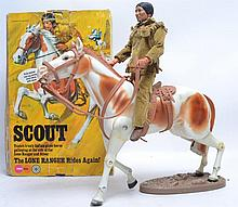 MARX LONE RANGER: An original vintage Marx Toys ' The Lone Ranger ' series ' Scout ' action figure and horse playset. Within the original box, the horse and Indian figure come with original clothing and accessories. The horse with its original