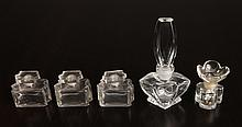 5 Antique Glass Perfume Bottles