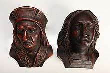 Pair of Carved Wood Busts