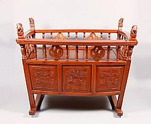Chinese Export Rosewood Cradle