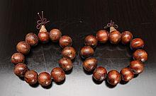 Pair of Tibetan Buddhist Wood Bead Bracelets