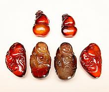 6 Chinese Amber Style Pendants