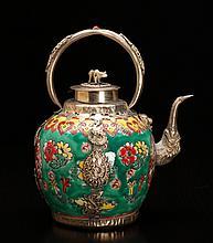 Chinese Porcelain & Metal Teapot