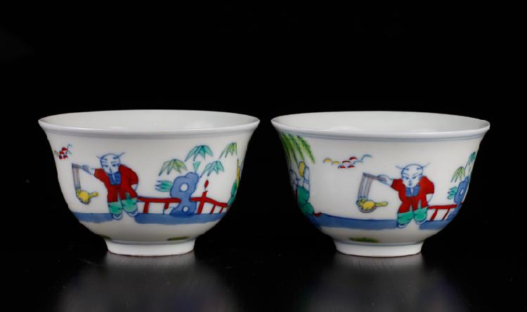 Pair of Chinese Dou Cai Porcelain Tea Cups