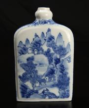 Chinese Blue & White Porcelain Snuff Bottle