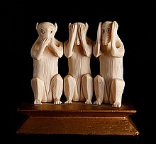 Chinese Carved Ivory Monkeys
