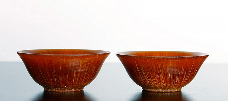 Pair of Chinese Horn Bowls on Stands