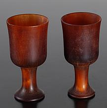 Pair of Chinese Carved Horn Miniature Cups