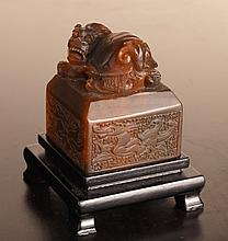 Chinese Carved Hardstone Seal on Stand