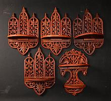 5 Carved Indian Wall Shelves