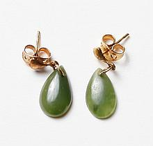Pair of Jade & Gold Earrings