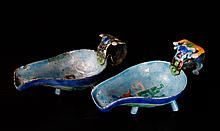 Pair of Chinese Republic Enameled Tea Scoops