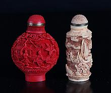 2 Chinese Cinnibar Style Snuff Bottles